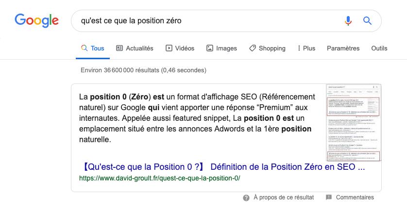Position 0 Facteur clé d'optimisation SEO pour la recherche vocale