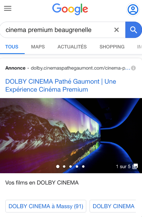 Gallery Ads pour DOLBY CINEMA